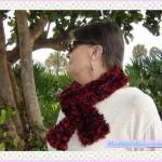 Buy Dark Red & Black Scarf Handmade Knitted Scarf Boa