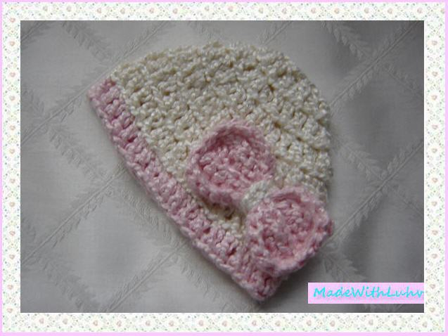 All Natural Organic Newborn Girl Baby Hat Beanie With Pink Bow for Sale