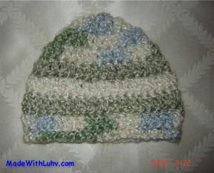 Super Soft Green White & Blue Handmade Baby Boy Hat