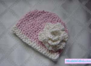 Baby Photo Prop Pink Hat With Big Fluffy White Flower