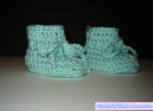 buy crochet baby booties light green