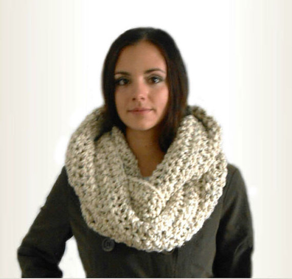 Oversized Infinity Scarf Cowl 2014 Crochet 2 Sisters Handmade