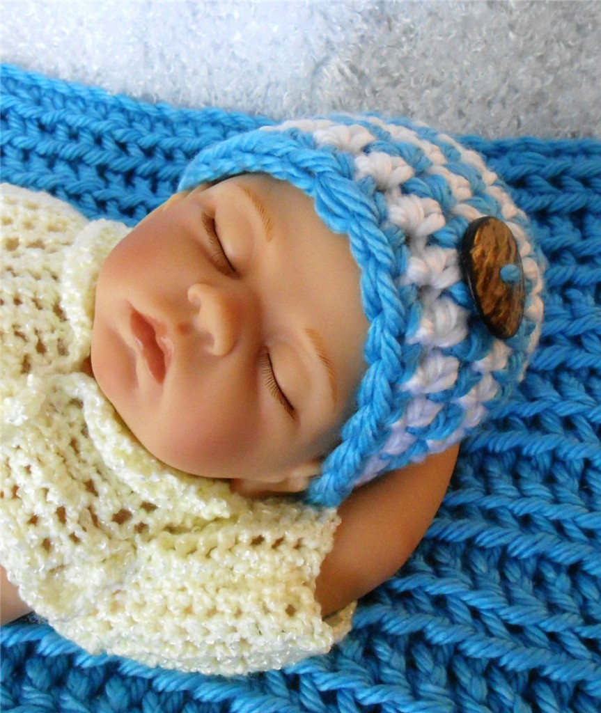 Baby Boy Photo Prop for Sale Bright Blue Baby Photo Prop Blanket and Hat Made With Luhv