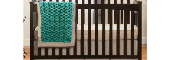 Sea Gree Nursery Room Decor Handmade Crochet Baby Blanket