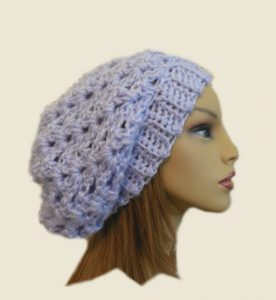 Pale Purple Crochet Slouchy Hat by 2SistersHandmade