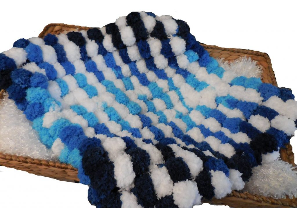 blue pom pom blanket newborn baby photo prop
