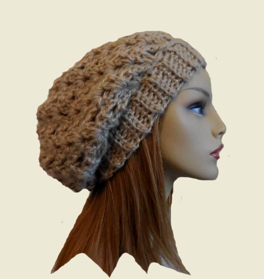 H=handmade crochet slouchy hat beanie